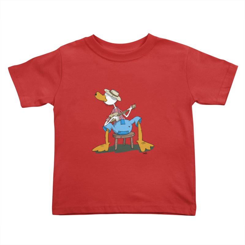 The Duck plays a cool Guitar Kids Toddler T-Shirt by Illustrated Madness