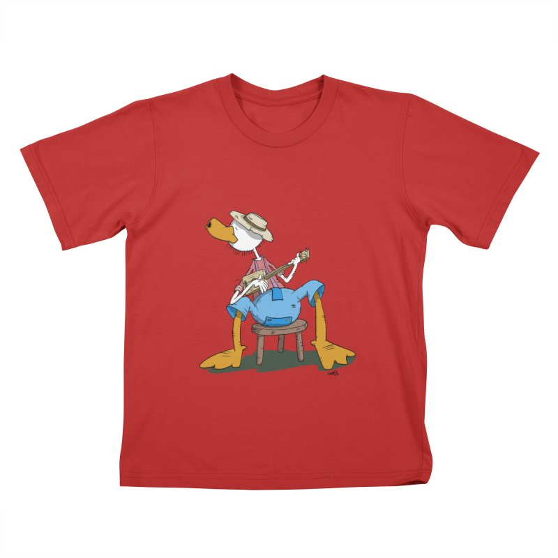 The Duck plays a cool Guitar Kids T-shirt by Illustrated Madness