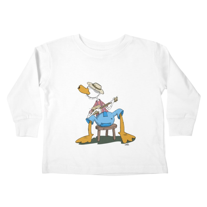 The Duck plays a cool Guitar Kids Toddler Longsleeve T-Shirt by Illustrated Madness