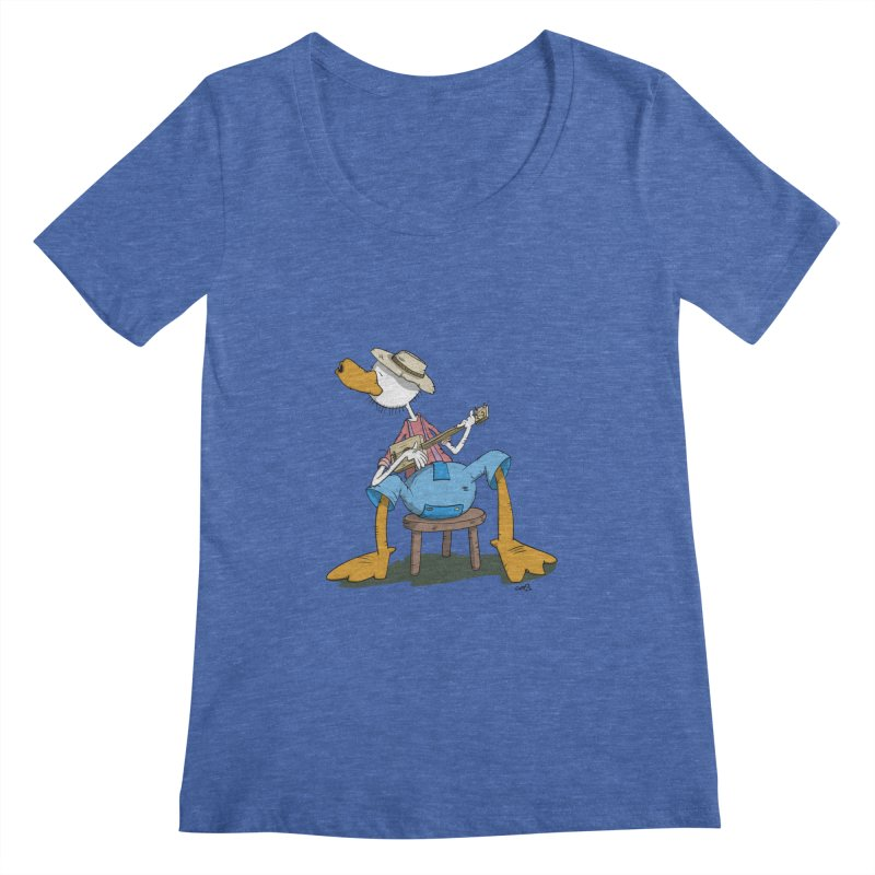The Duck plays a cool Guitar Women's Scoopneck by Illustrated Madness