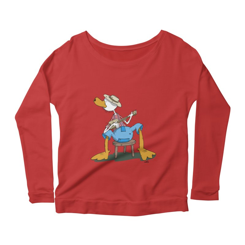 The Duck plays a cool Guitar Women's Longsleeve Scoopneck  by Illustrated Madness