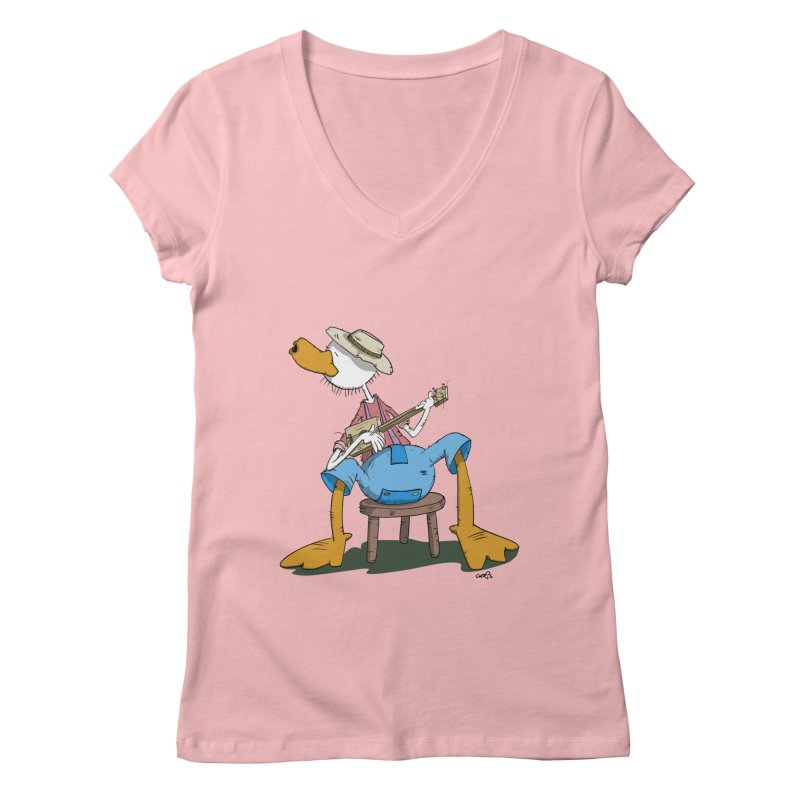 The Duck plays a cool Guitar Women's V-Neck by Illustrated Madness