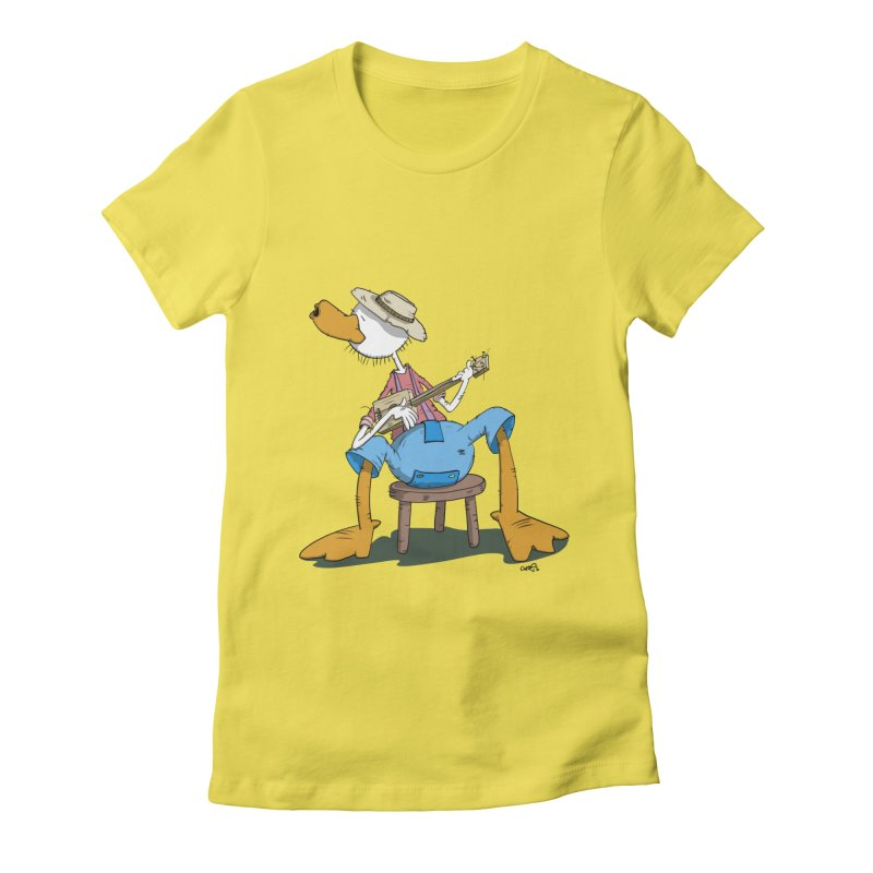 The Duck plays a cool Guitar Women's Fitted T-Shirt by Illustrated Madness