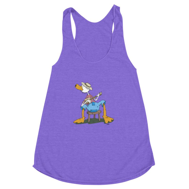The Duck plays a cool Guitar Women's Racerback Triblend Tank by Illustrated Madness