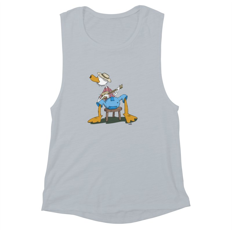 The Duck plays a cool Guitar Women's Muscle Tank by Illustrated Madness
