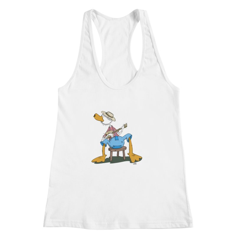 The Duck plays a cool Guitar Women's Racerback Tank by Illustrated Madness