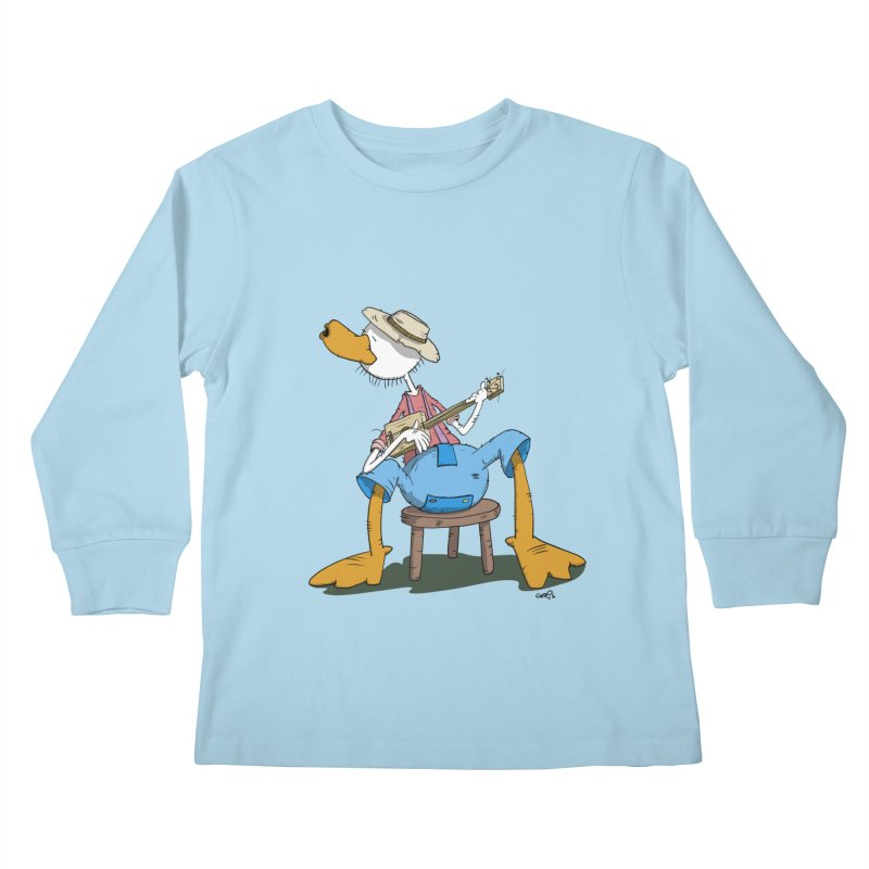 The Duck plays a cool Guitar Kids Longsleeve T-Shirt by Illustrated Madness