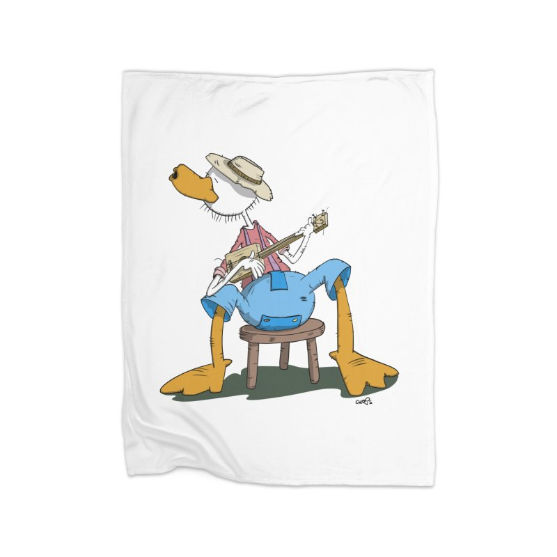 The Duck plays a cool Guitar Home Fleece Blanket Blanket by Illustrated Madness