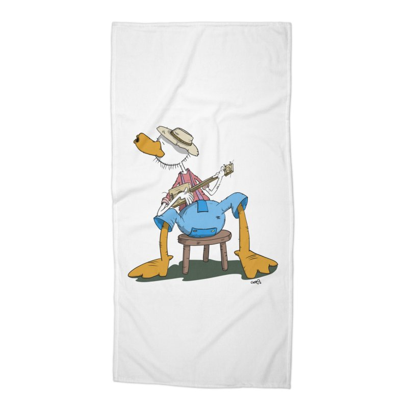 The Duck plays a cool Guitar Accessories Beach Towel by Illustrated Madness