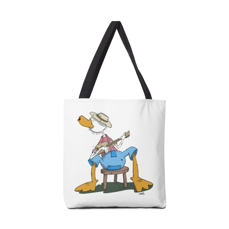 The Duck plays a cool Guitar Accessories Tote Bag Bag by Illustrated Madness
