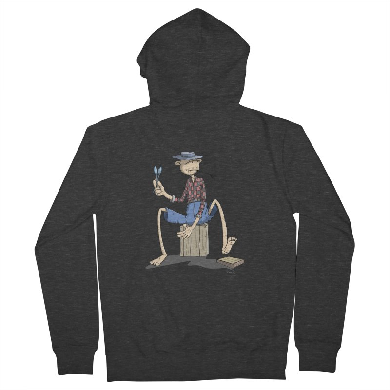 The Monkey plays a cool Percussion Women's French Terry Zip-Up Hoody by Illustrated Madness
