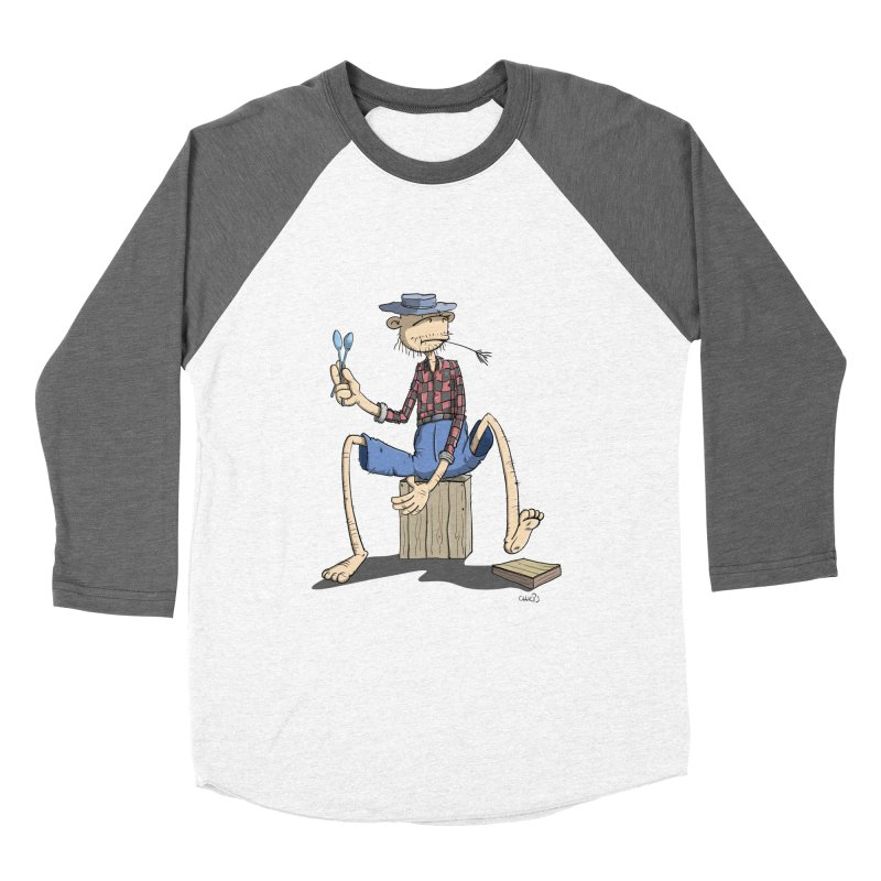 The Monkey plays a cool Percussion Women's Baseball Triblend T-Shirt by Illustrated Madness