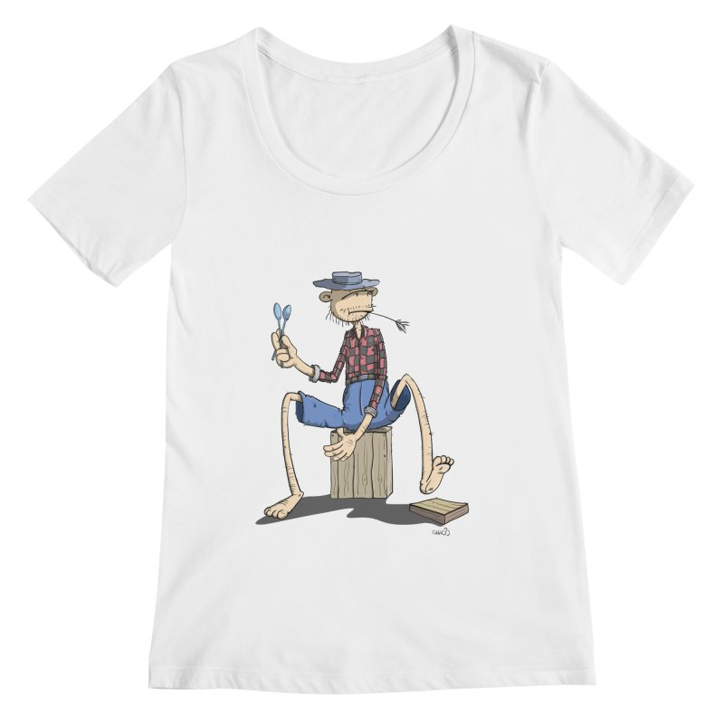 The Monkey plays a cool Percussion Women's Regular Scoop Neck by Illustrated Madness