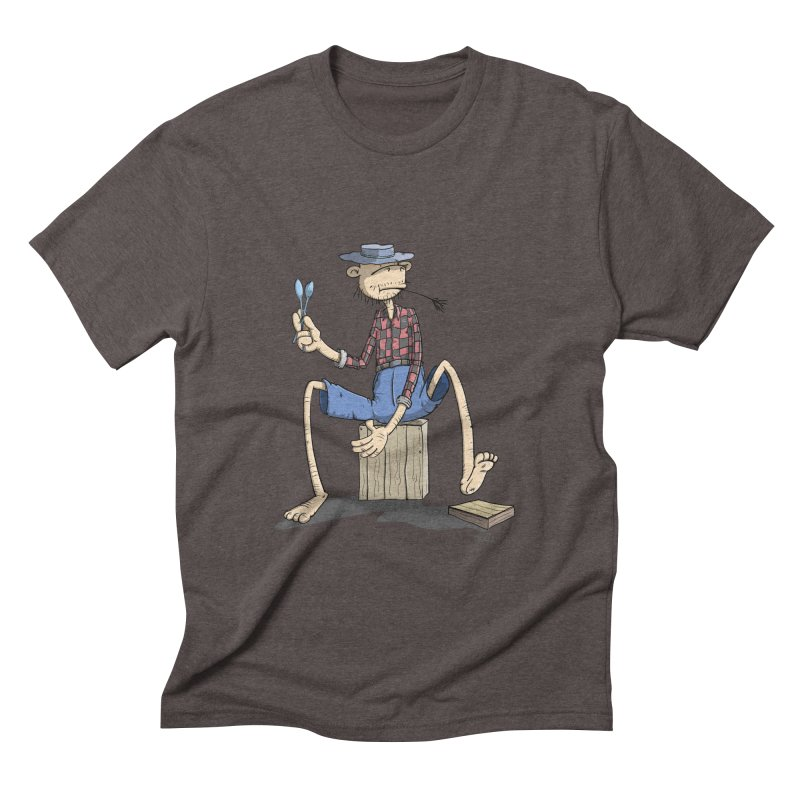 The Monkey plays a cool Percussion Men's Triblend T-shirt by Illustrated Madness