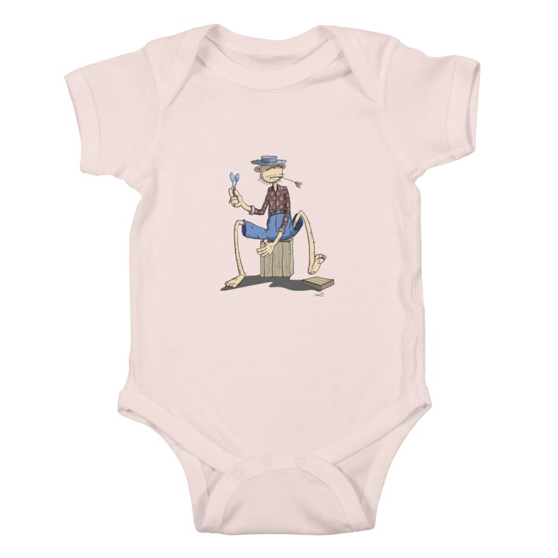 The Monkey plays a cool Percussion Kids Baby Bodysuit by Illustrated Madness