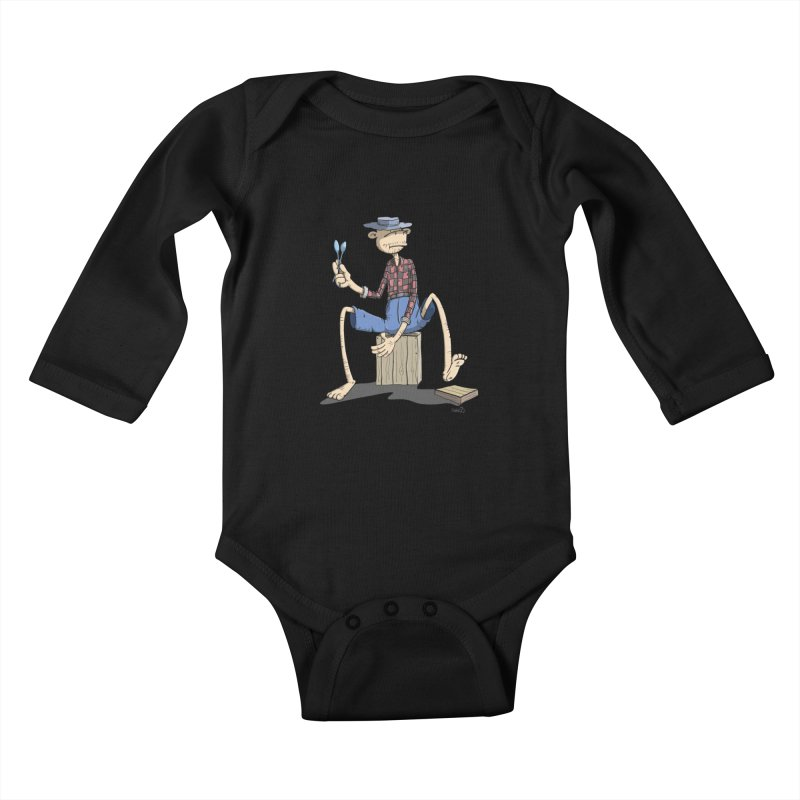 The Monkey plays a cool Percussion Kids Baby Longsleeve Bodysuit by Illustrated Madness