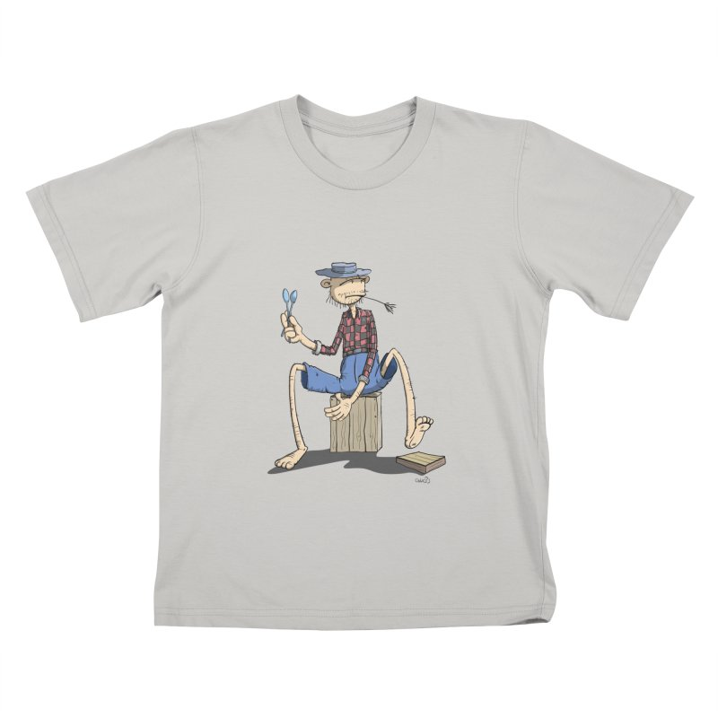 The Monkey plays a cool Percussion in Kids T-Shirt Stone by Illustrated Madness
