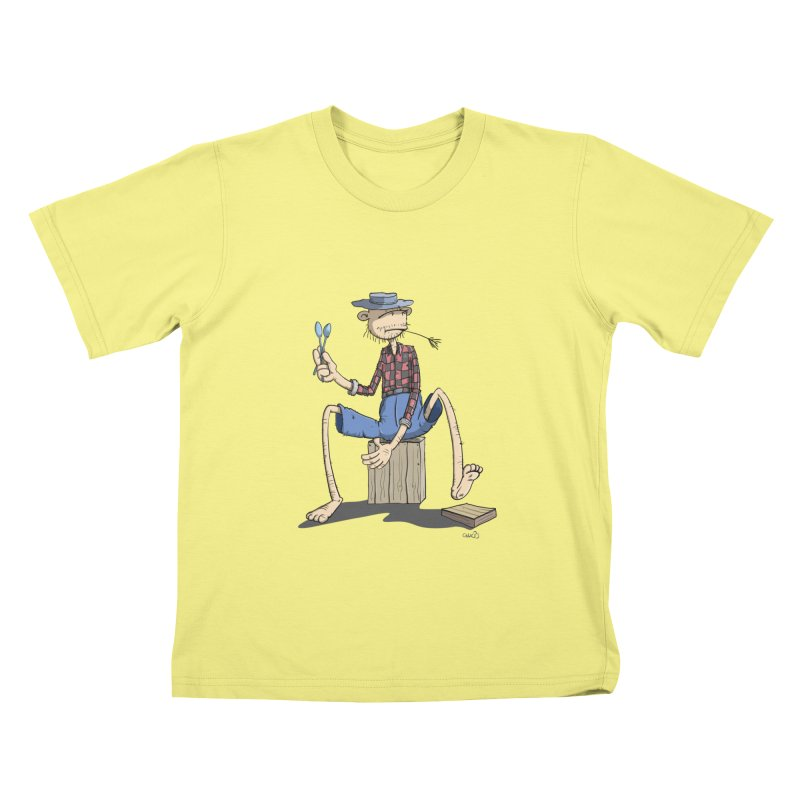 The Monkey plays a cool Percussion Kids T-shirt by Illustrated Madness