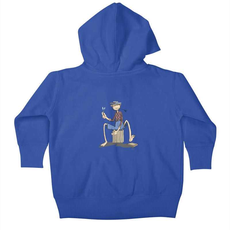 The Monkey plays a cool Percussion Kids Baby Zip-Up Hoody by Illustrated Madness