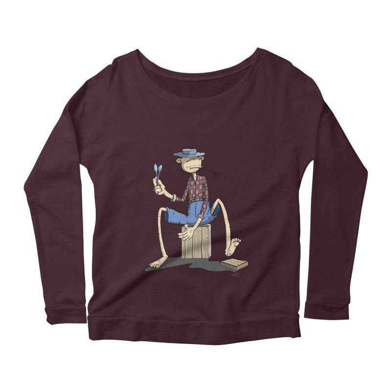 The Monkey plays a cool Percussion Women's Longsleeve Scoopneck  by Illustrated Madness