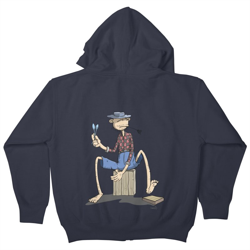 The Monkey plays a cool Percussion Kids Zip-Up Hoody by Illustrated Madness