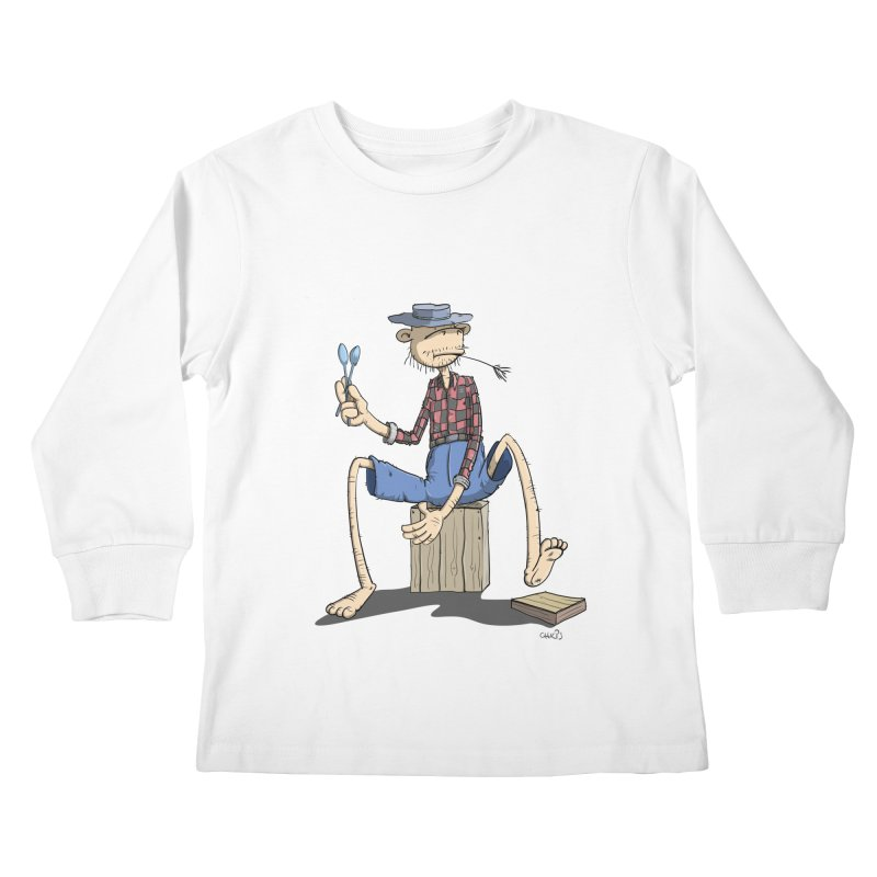 The Monkey plays a cool Percussion Kids Longsleeve T-Shirt by Illustrated Madness