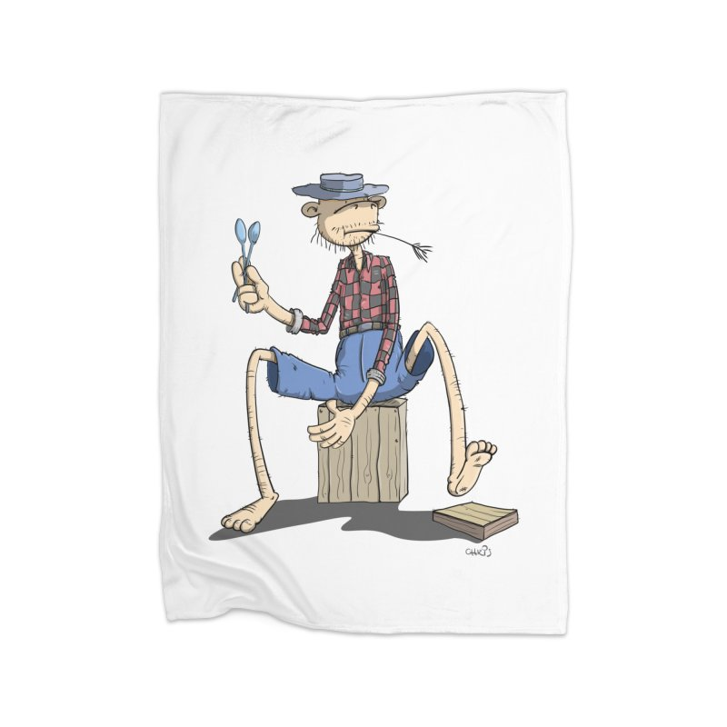 The Monkey plays a cool Percussion Home Fleece Blanket Blanket by Illustrated Madness