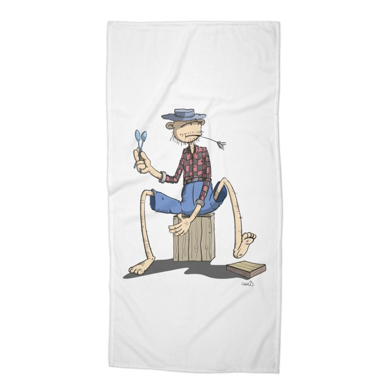 The Monkey plays a cool Percussion Accessories Beach Towel by Illustrated Madness