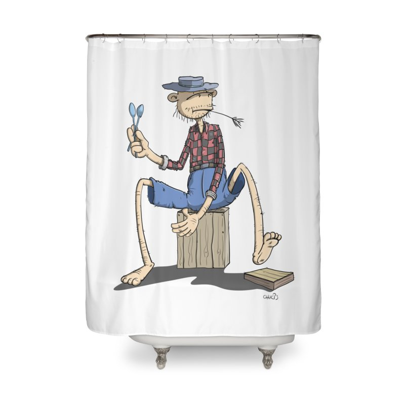 The Monkey plays a cool Percussion Home Shower Curtain by Illustrated Madness