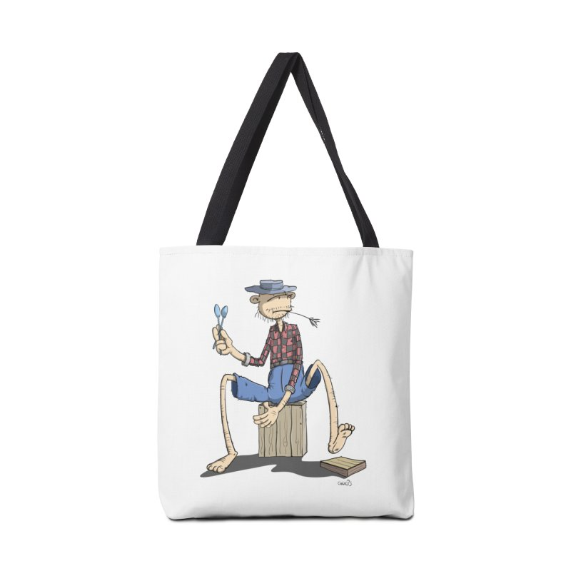 The Monkey plays a cool Percussion Accessories Tote Bag Bag by Illustrated Madness