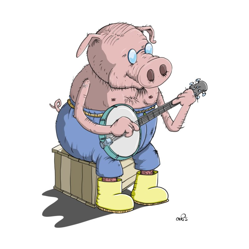 The Pig plays a cool Banjo Women's Fitted T-Shirt by Illustrated Madness
