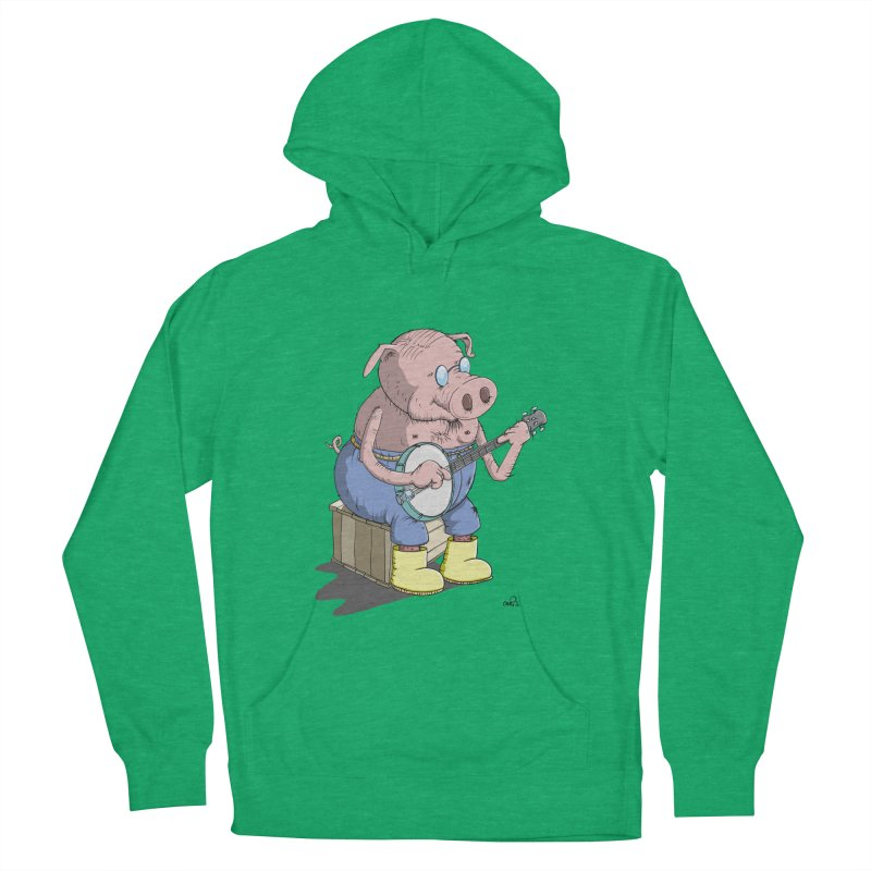 The Pig plays a cool Banjo Men's Pullover Hoody by Illustrated Madness