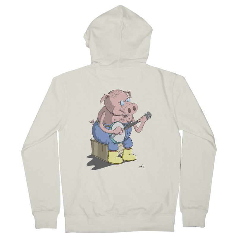 The Pig plays a cool Banjo Men's Zip-Up Hoody by Illustrated Madness