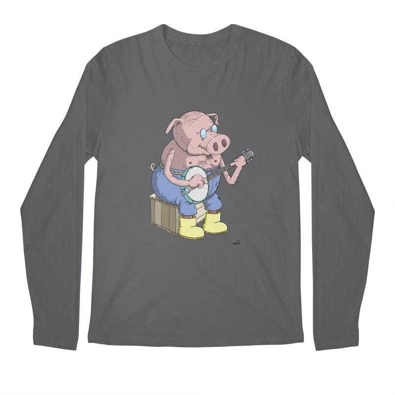 The Pig plays a cool Banjo Men's Regular Longsleeve T-Shirt by Illustrated Madness