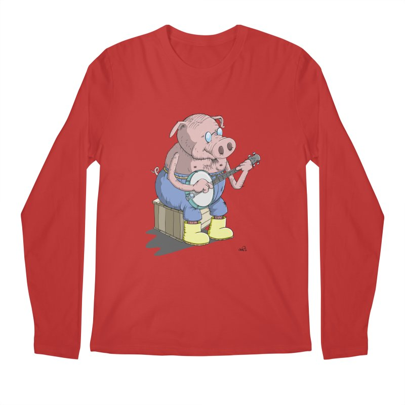 The Pig plays a cool Banjo Men's Longsleeve T-Shirt by Illustrated Madness