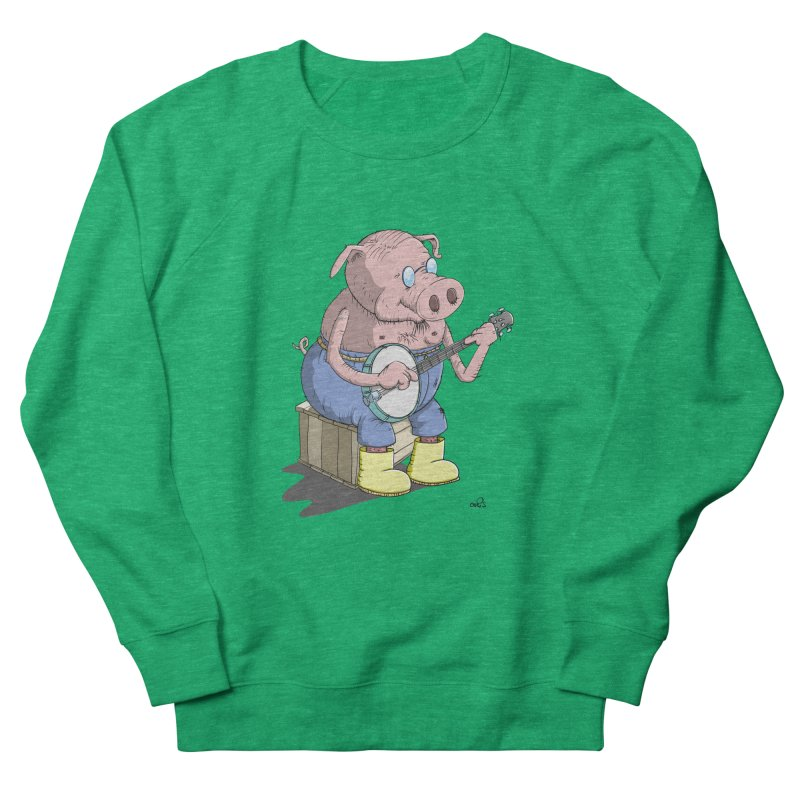 The Pig plays a cool Banjo Women's Sweatshirt by Illustrated Madness