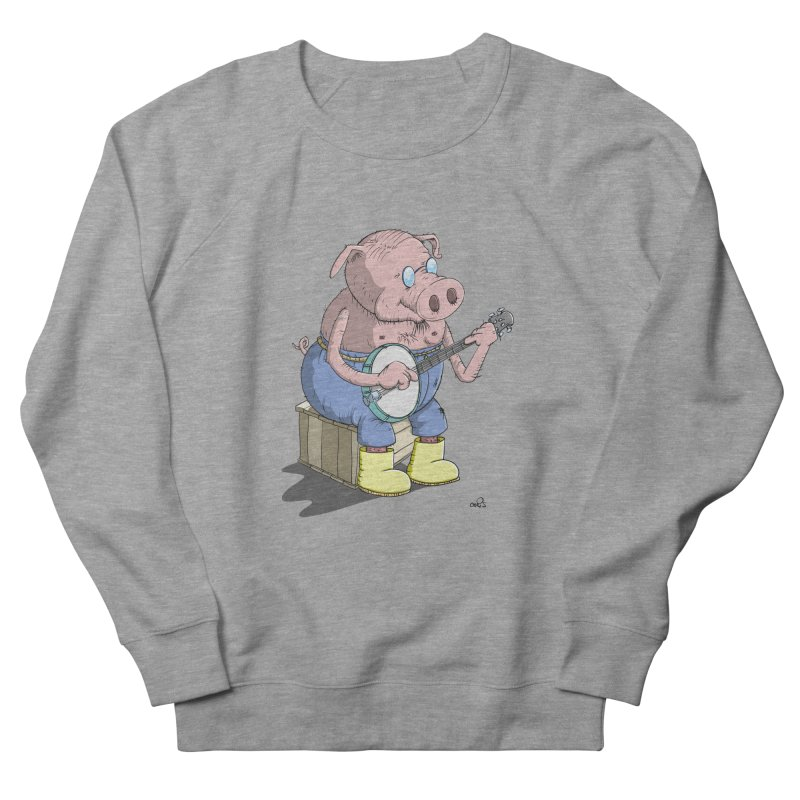 The Pig plays a cool Banjo Men's French Terry Sweatshirt by Illustrated Madness