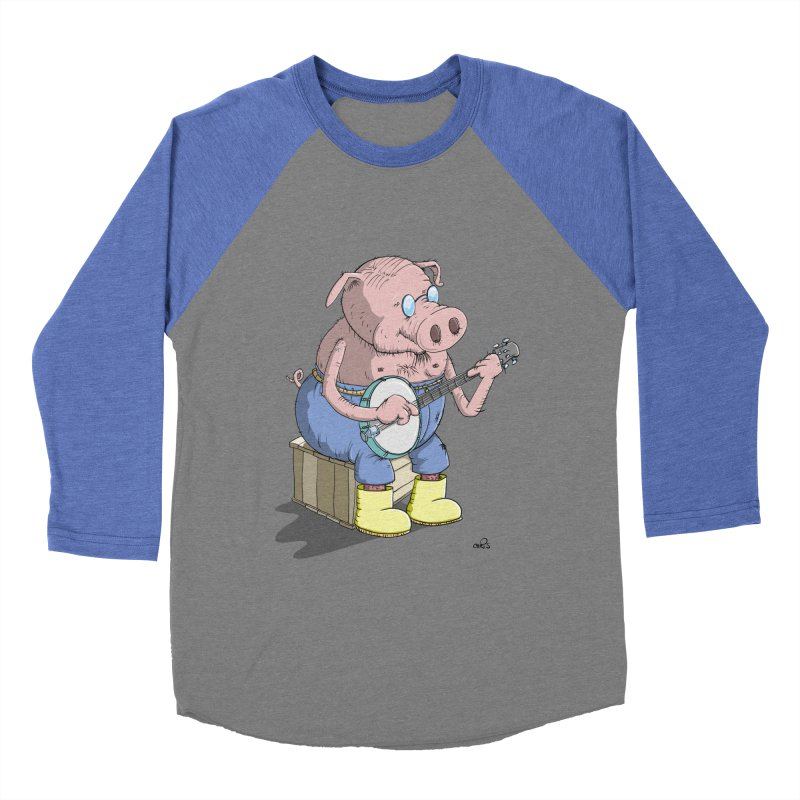 The Pig plays a cool Banjo Women's Baseball Triblend T-Shirt by Illustrated Madness