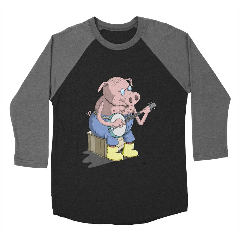 The Pig plays a cool Banjo Women's Baseball Triblend Longsleeve T-Shirt by Illustrated Madness