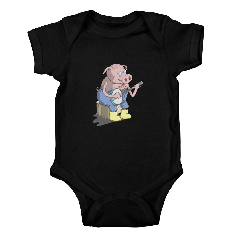 The Pig plays a cool Banjo Kids Baby Bodysuit by Illustrated Madness