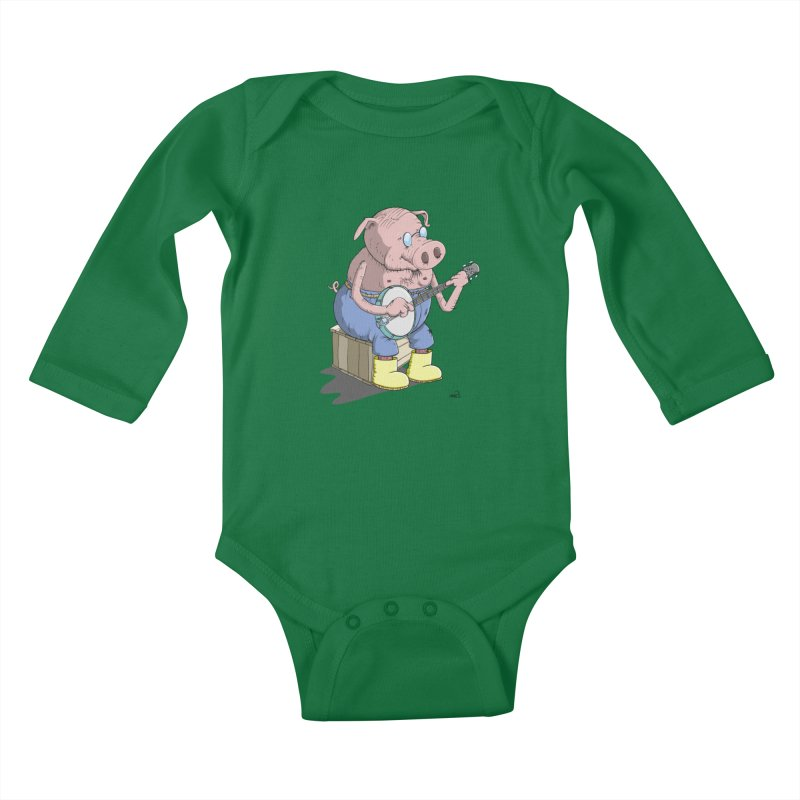 The Pig plays a cool Banjo Kids Baby Longsleeve Bodysuit by Illustrated Madness
