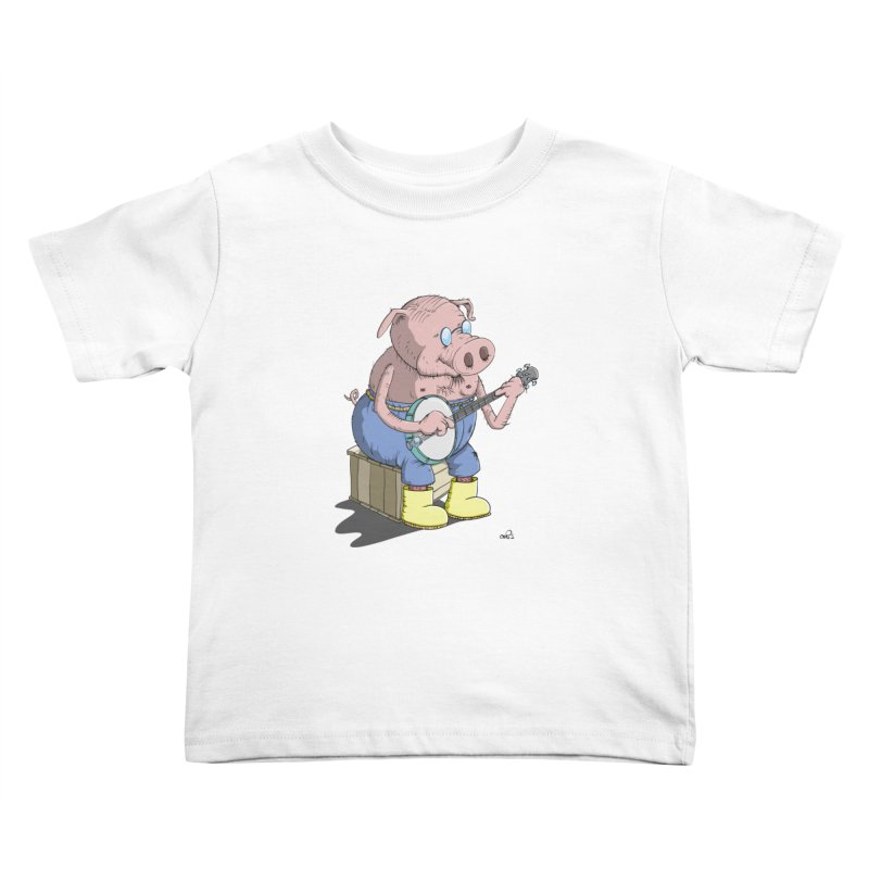 The Pig plays a cool Banjo Kids Toddler T-Shirt by Illustrated Madness