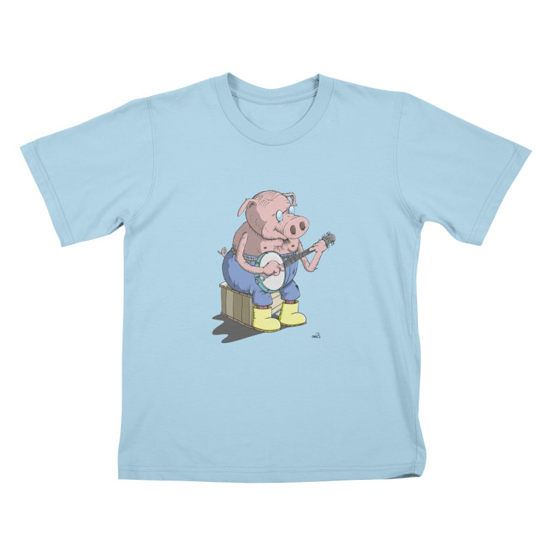 The Pig plays a cool Banjo in Kids T-Shirt Powder Blue by Illustrated Madness