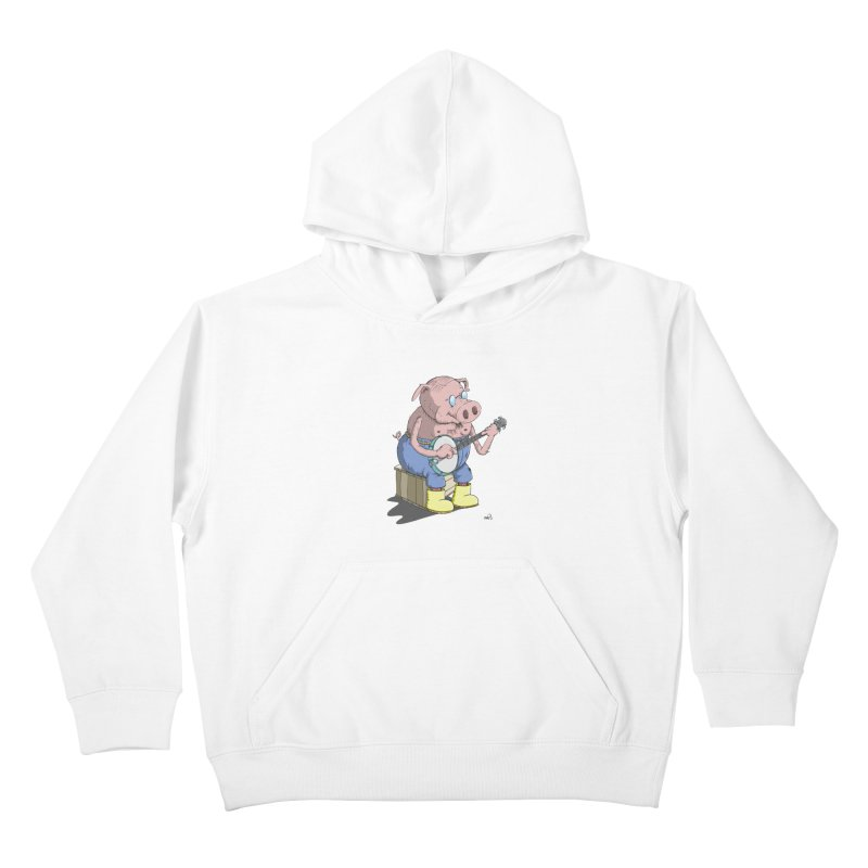 The Pig plays a cool Banjo Kids Pullover Hoody by Illustrated Madness