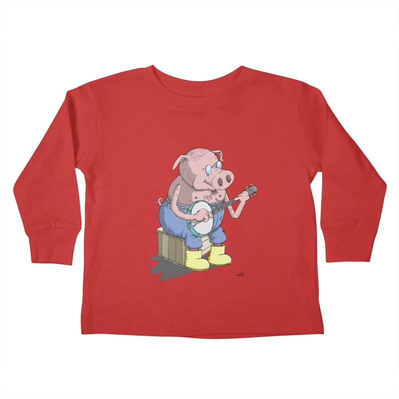 The Pig plays a cool Banjo Kids Toddler Longsleeve T-Shirt by Illustrated Madness