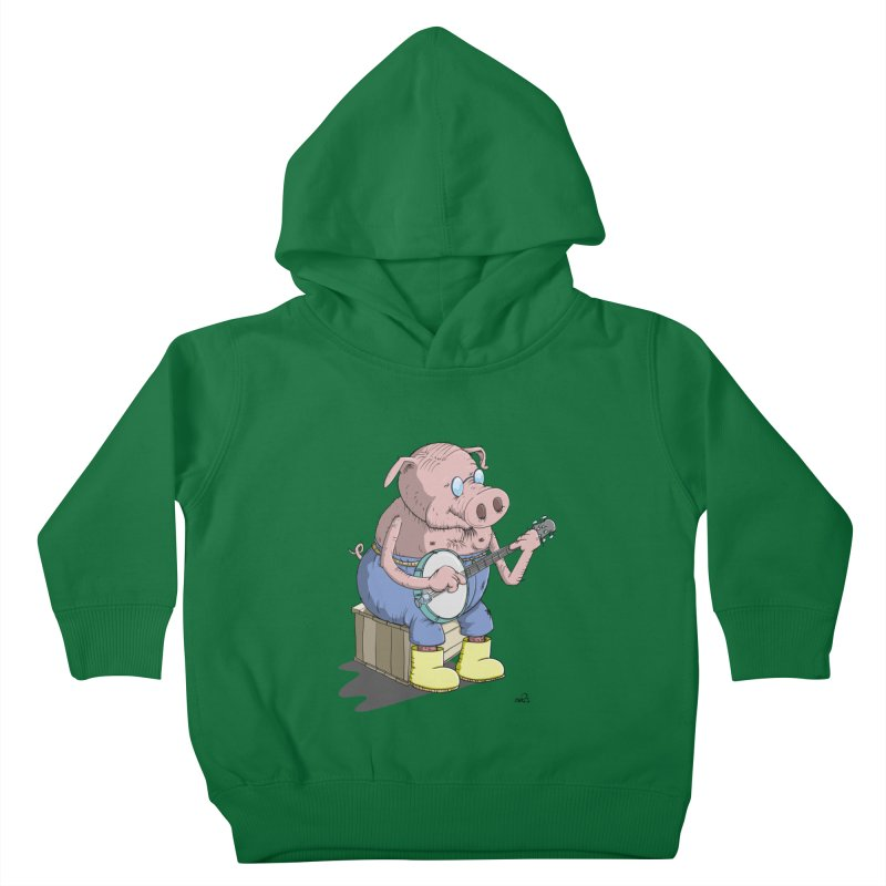 The Pig plays a cool Banjo Kids Toddler Pullover Hoody by Illustrated Madness