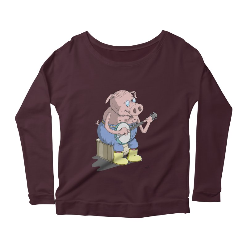 The Pig plays a cool Banjo Women's Longsleeve Scoopneck  by Illustrated Madness