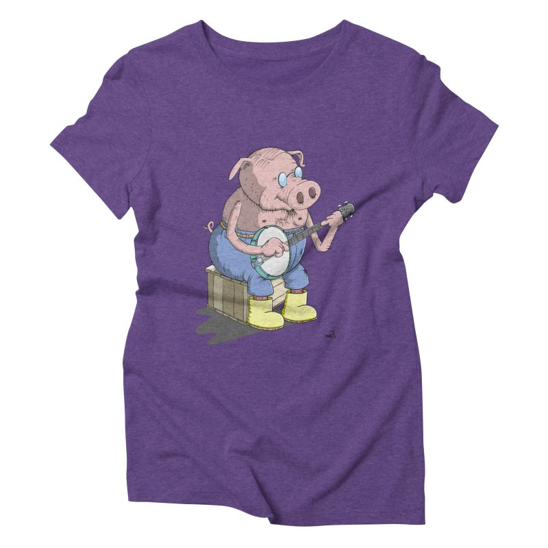 The Pig plays a cool Banjo Women's Triblend T-shirt by Illustrated Madness