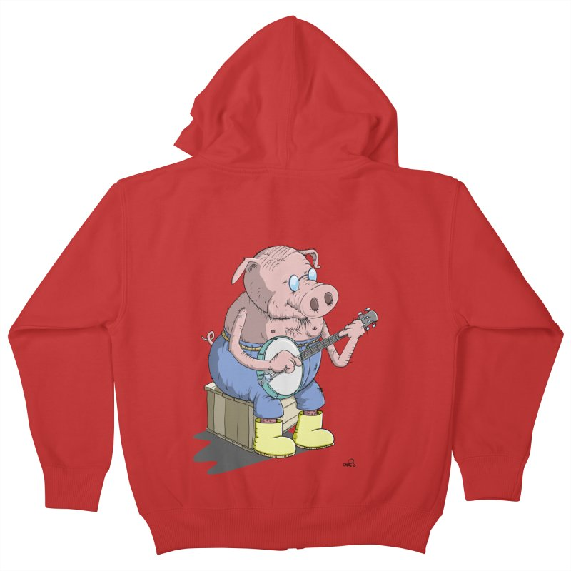 The Pig plays a cool Banjo Kids Zip-Up Hoody by Illustrated Madness