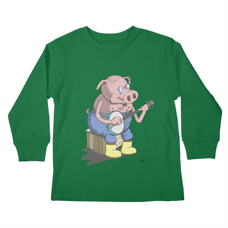 The Pig plays a cool Banjo Kids Longsleeve T-Shirt by Illustrated Madness